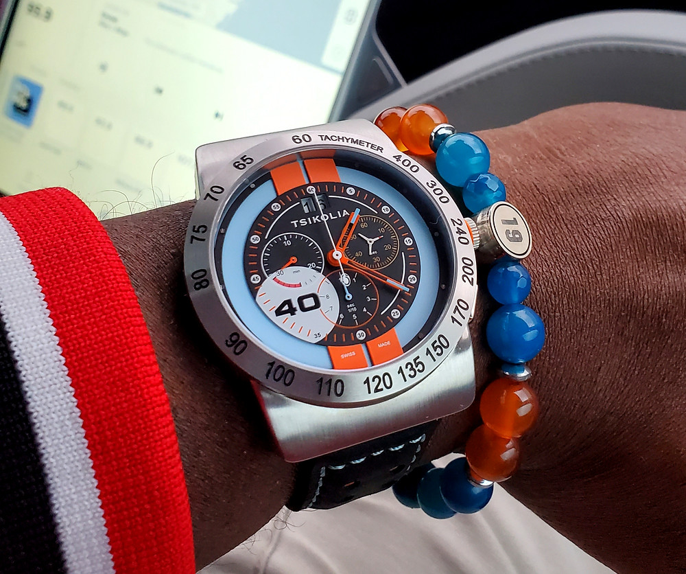WOTD wrist-shot of the Tsikolia, GT40 Racing Chronograph, Limited Edition.  Paired with custom-crafted bracelet, designed by Beads By Gonzo.
