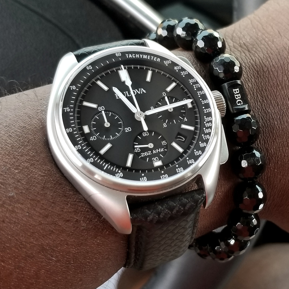 WOTD wrist-shot of the Bulova, Lunar Pilot, Special Edition.  Paired today with a beaded bracelet, custom-crafted by Beads By Gonzo.