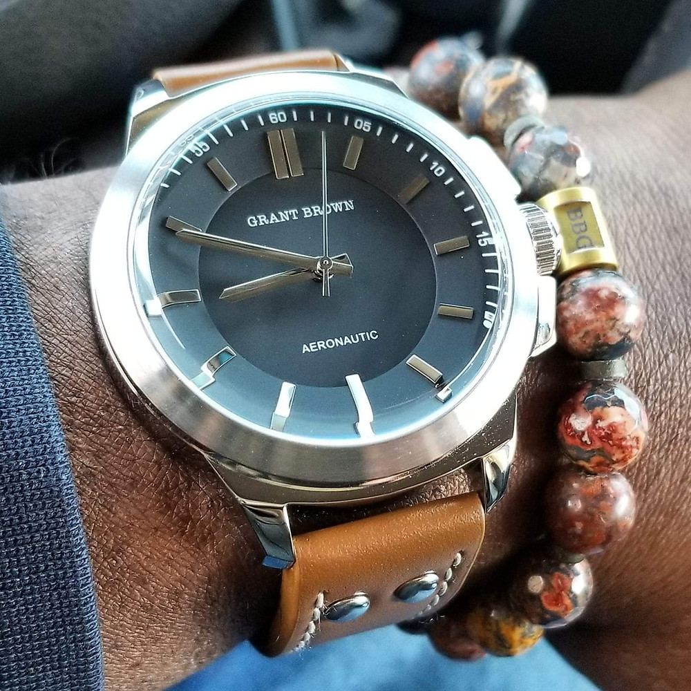 WOTD wrist-shot of the Grant Brown, Aeronautic.   Paired with a custom-designed, beaded bracelet, crafted by Beads By Gonzo.
