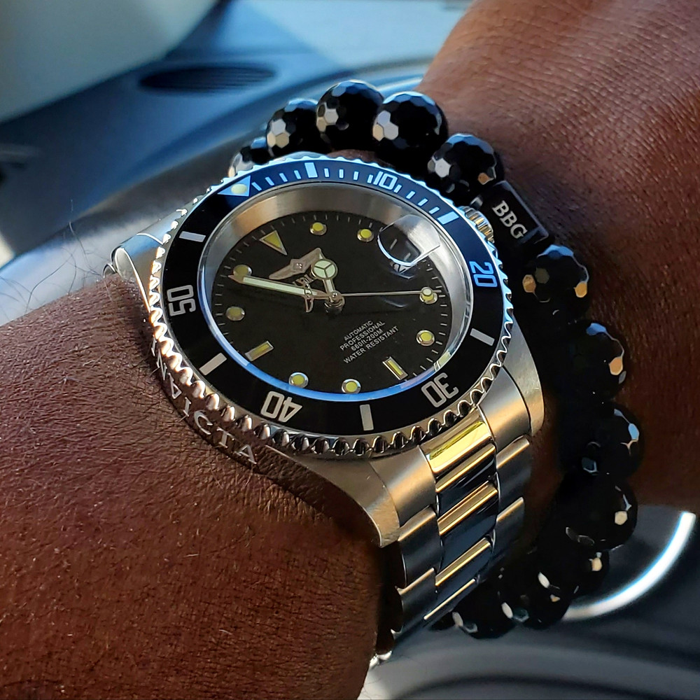 WOTD wrist-shot of the Invicta, Pro Diver 8926OB.  Paired with a custom-crafted bracelet, designed by Beads By Gonzo.