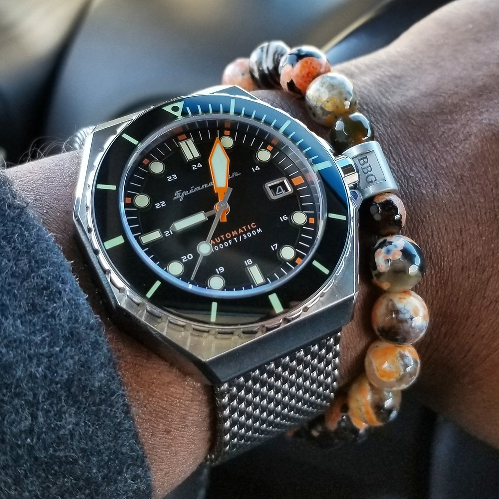 WOTD wrist-shot of the Spinnaker Dumas Diver, paired with a custom designed, beaded bracelet, designed by Beads By Gonzo.