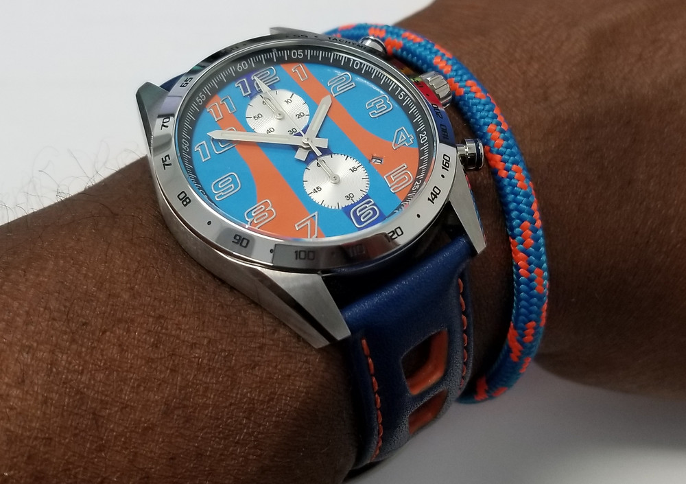 "WOTD wrist-shot of the Szanto, Danny Sullivan ""Icon Series"", Racing Chronograph Mod.  Paired with a marine-grade, rope bracelet, designed by Roplet UK."