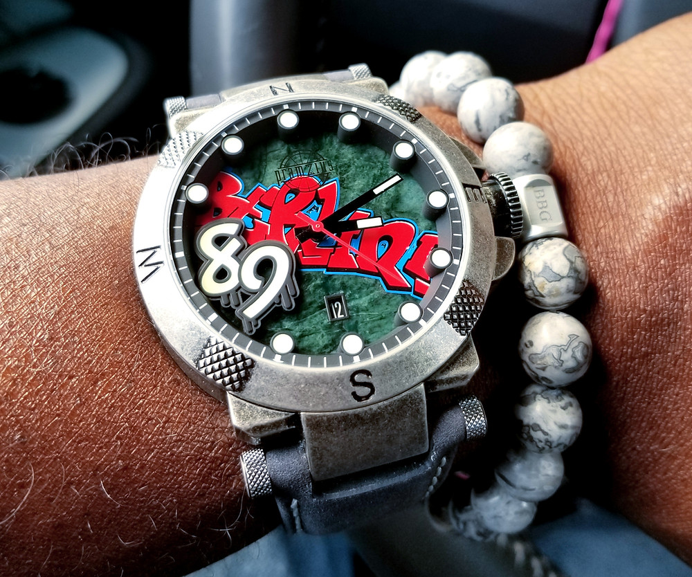WOTD wrist-shot of the Pramzius, Fall of the Berlin Wall, Limited Edition.  Paired with custom-made, color-matched bracelet, designed by Beads By Gonzo.
