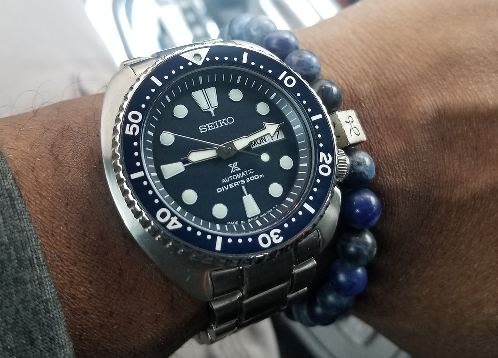 "WOTD wrist-shot of the Seiko Prospex, ""Turtle"", paired with an Aurum Brothers, Beaded Bracelet."