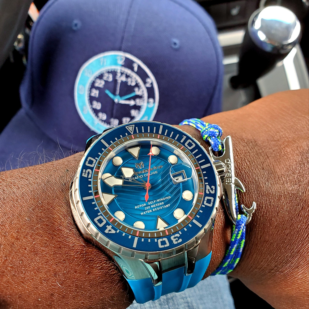 WOTD wrist-shot of the TechnoMarine, Blue Reef Diver.  Paired with a shark rope bracelet, designed by Dorsal Bracelet Company.