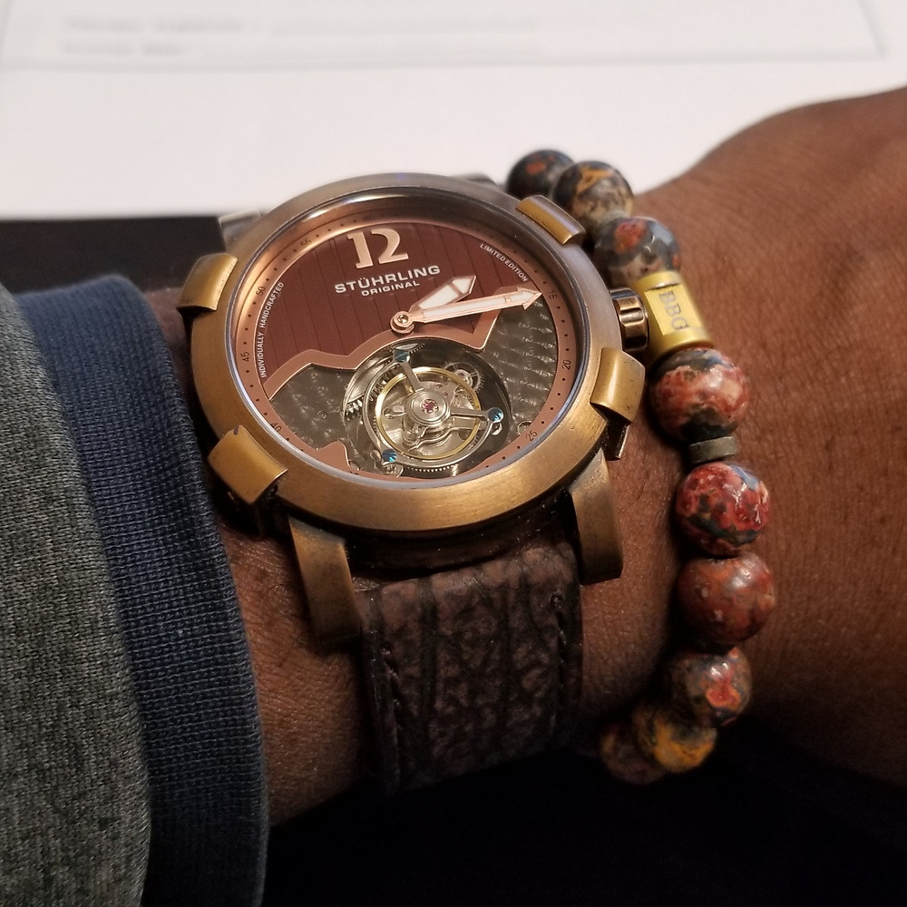 WOTD wrist-shot of the Stuhrling Original, Devilray Tourbillon, Limited Edition, paired with a custom bracelet, designed by Beads By Gonzo.