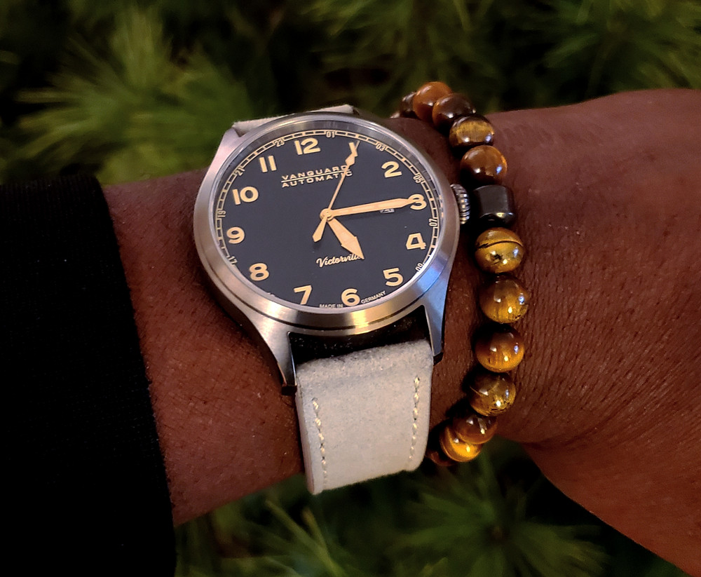 WOTD wrist-shot of the Vanguard, Victorville Pilot.  Paired with a beaded bracelet, in color SoHo, designed by Dorsal Bracelet Co.