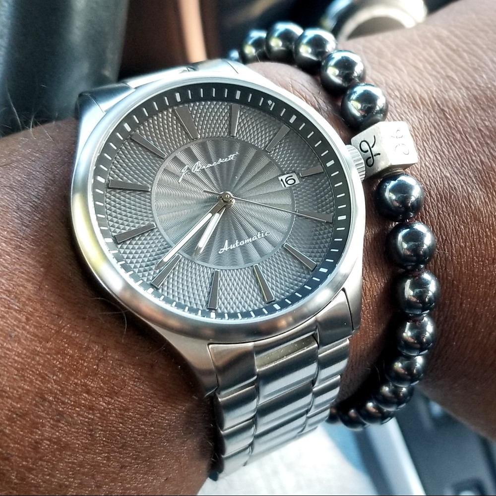WOTD wrist-shot of the J. Brackett, Navigli.  Paired with a minimalist, Hematite stone beaded bracelet, designed by Aurum Brothers.