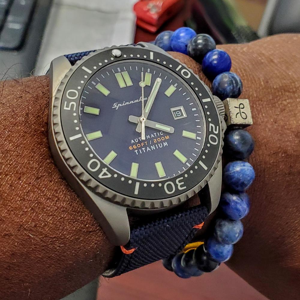 WOTD wrist-shot of the Spinnaker, Tesei Titanium.  Paired with minimalist, Sodalite stone bracelet, designed by Aurum Brothers.