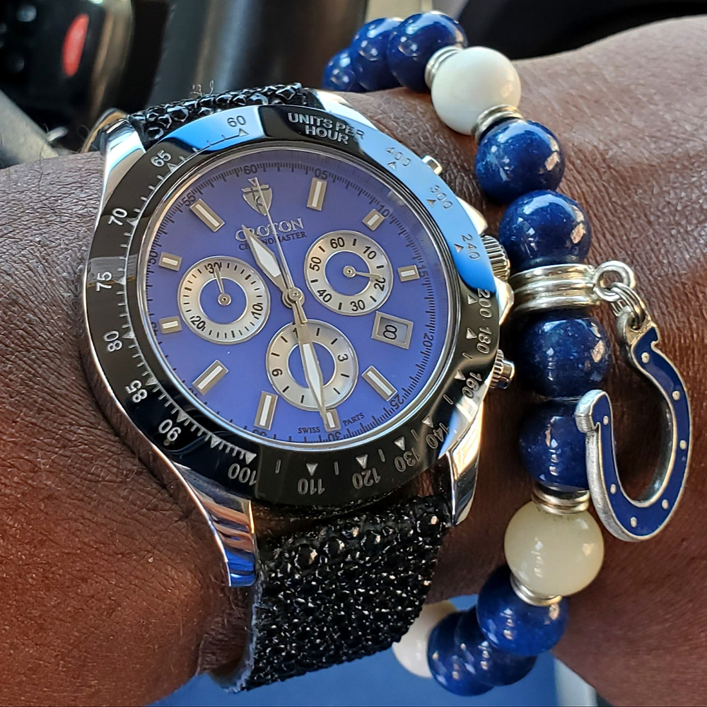 WOTD wrist-shot of the Croton, Chronomaster 925 Chronograph.  Paired with a custom-crafted bracelet, designed by Beads By Gonzo.