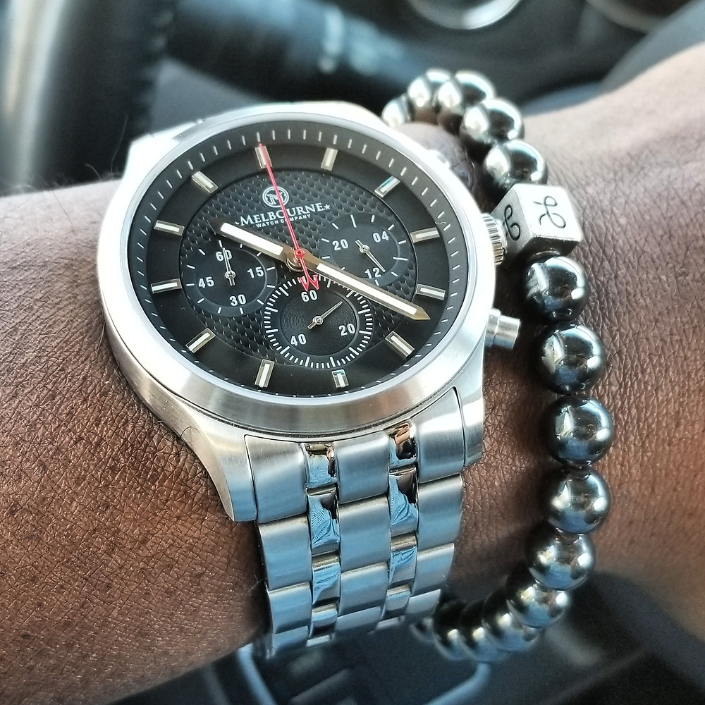 WOTD wrist-shot of the Melbourne, Hawthorne Chronograph.  Paired with a minimalist, Hematite, beaded bracelet, designed by Aurum Brothers.