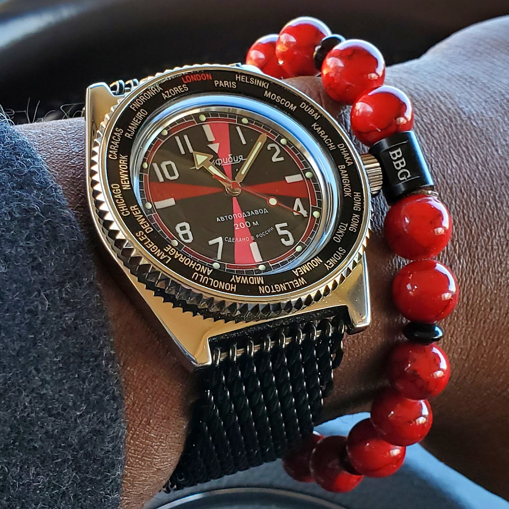 WOTD wrist-shot of the Vostok, Amphibian - Radio Room Mod.  Paired with a custom bracelet, crafted by Beads By Gonzo.