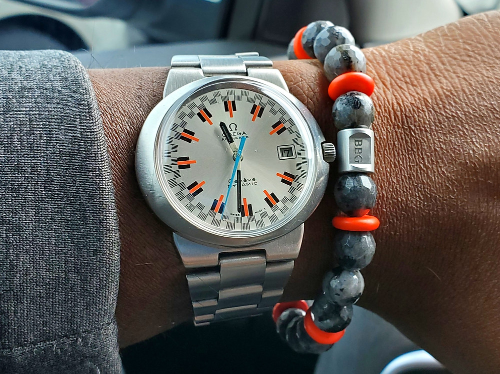 WOTD wrist-shot of the Omega, Geneve - Dynamic, with Racing Dial.  Paired with a custom-crafted bracelet, designed by Beads By Gonzo.
