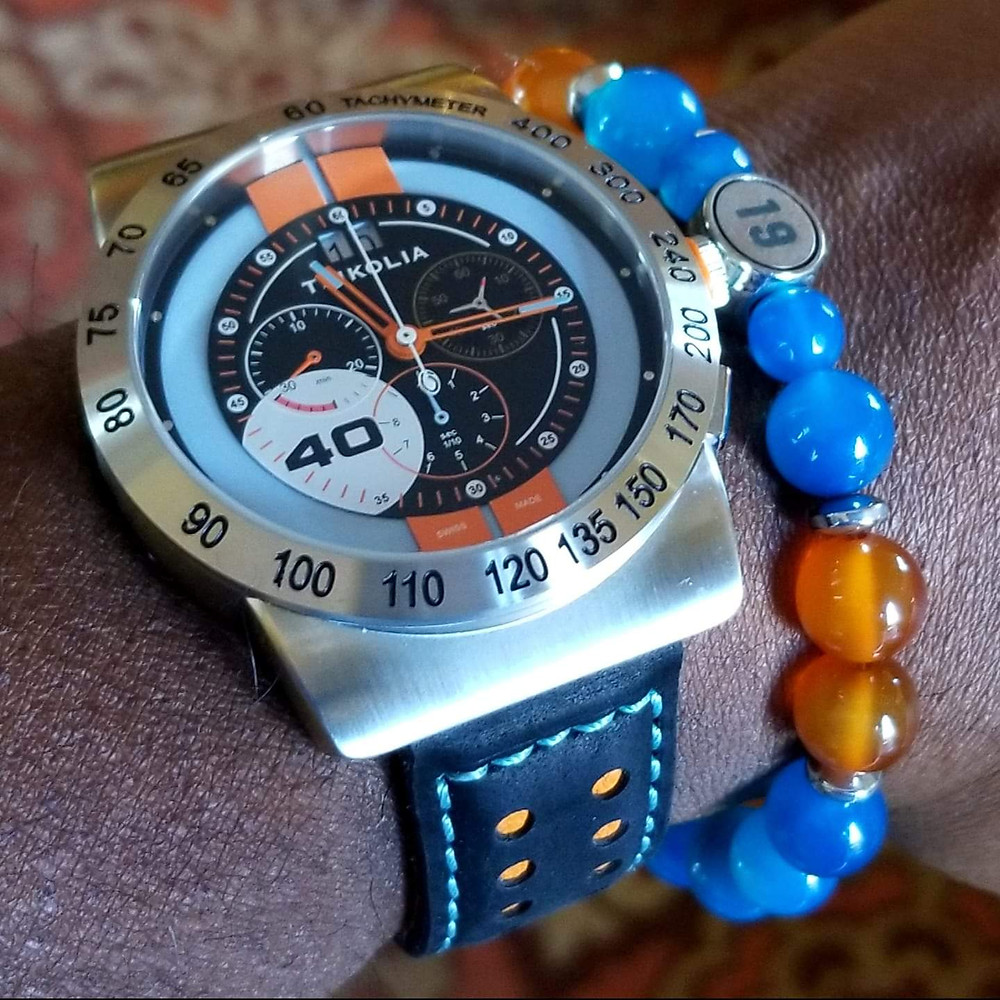 WOTD wrist-shot of the Tsikolia, GT40 Racing Chronograph.  Paired today with a beaded bracelet, custom-made by Beads By Gonzo.