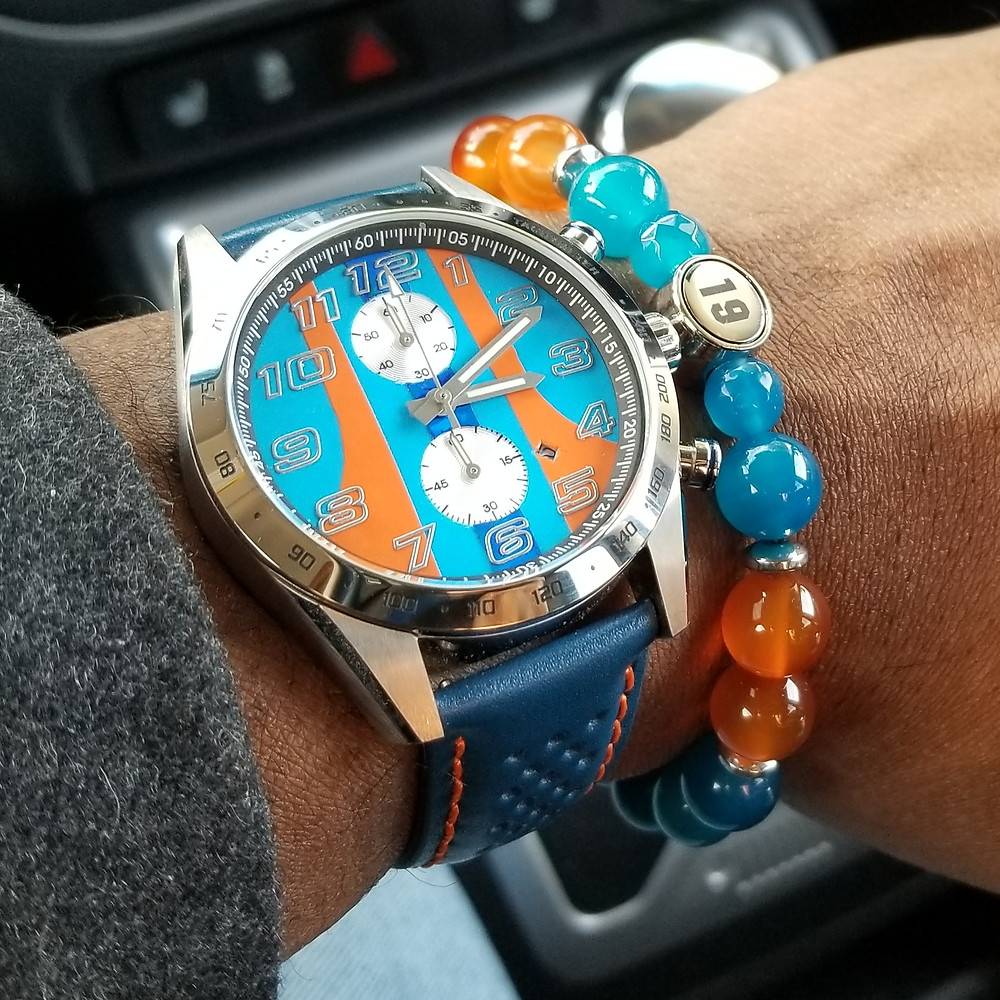 "WOTD wrist-shot of the Szanto, Danny Sullivan ""Icon Series"",  GT Rally Mod Chronograph, paired with a custom, beaded bracelet, designed by Beads By Gonzo."