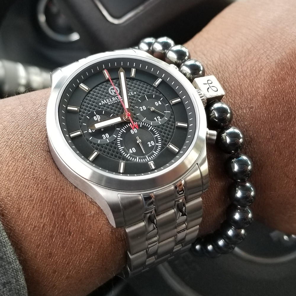 WOTD wrist-shot of the Melbourne, Hawthorne Chronograph.  Paired with a minimalist, Hematite stone, beaded bracelet, designed by Aurum Brothers.