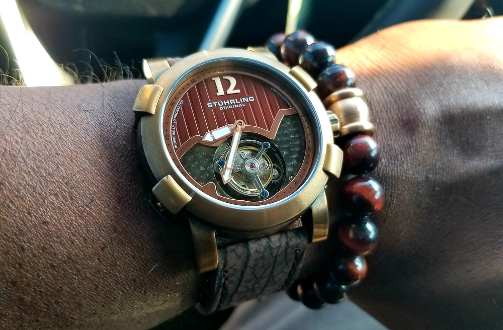 WOTD Wrist=Shot of the Stuhrling Original, Devilray Tourbillon, accompanied by custom beaded bracelet by vendor Beads by Gonzo.