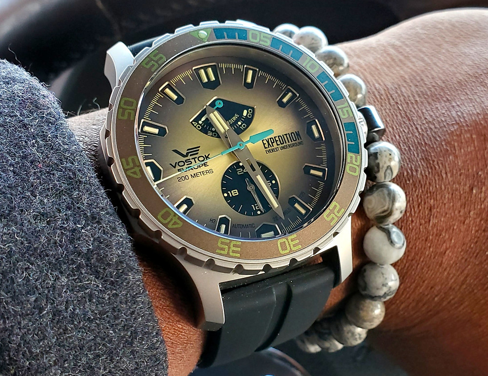 WOTD wrist-shot of the Vostok Europe, Expedition - Everest Underground.  Matched today, with a Pose, beaded bracelet, designed by Dorsal Bracelet Co.