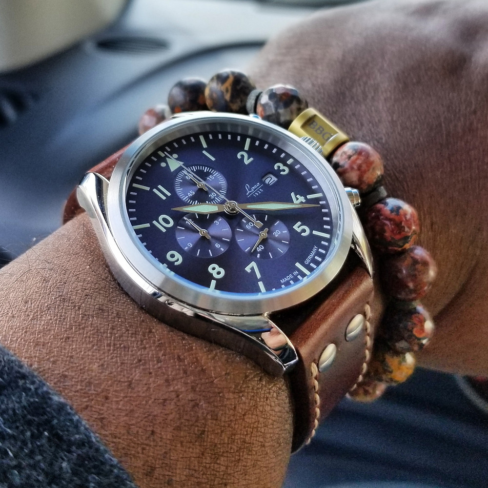 WOTD wrist-shot of the Laco Atlantic, Pilot Chronograph.  Paired with a custom, beaded bracelet, designed by Beads By Gonzo.