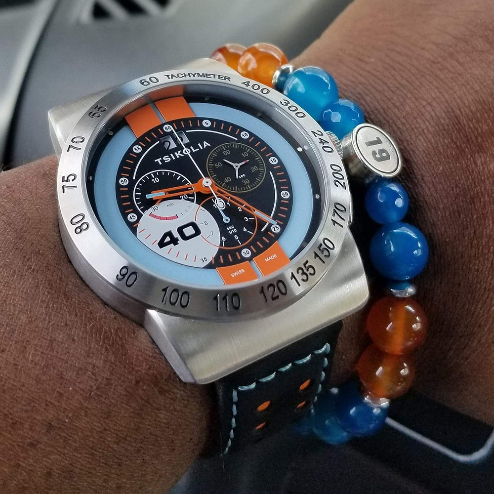 Wrist shot of the Tsikolia, GT40 Racing Chronograph, Limited Edition.  Paired with a custom, beaded bracelet, designed by Beads By Gonzo.