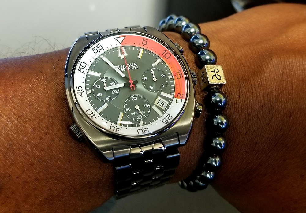 WOTD wrist-shot of the Bulova, Accutron II, Snorkel accompanied with Aurum Brother's, Minimalist, Hematite, beaded bracelet.