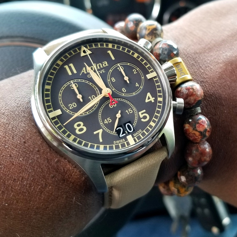 WOTD wrist-shot of the Alpina, Startimer Chronograph.  Paired with a custom, beaded bracelet, designed by Beads By Gonzo.