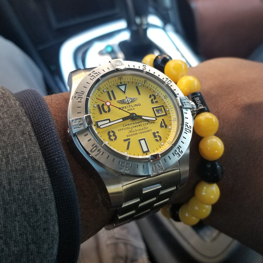 WOTD wrist-shot of the Breitling, Avenger Seawolf, paired with a custom bracelet, designed by Beads By Gonzo.