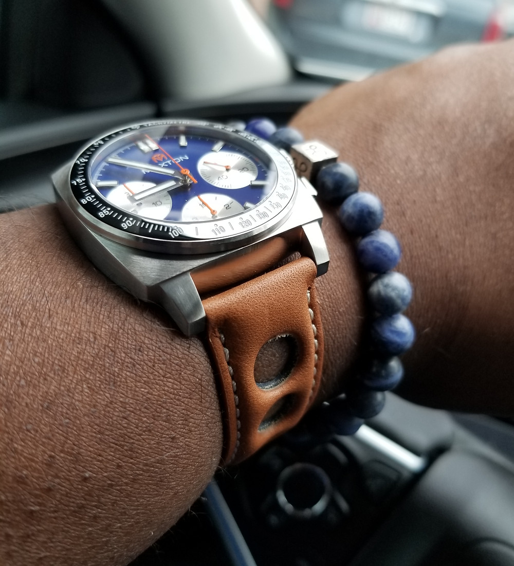 McDowell Time, Maxton Chronograph, paired with an Aurum Brothers, minimalist, sodalite bracelet.