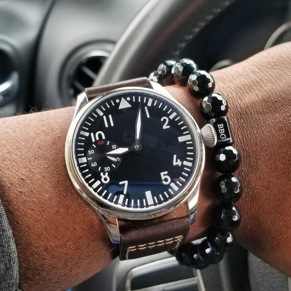WOTD wrist-shot of the Parnis, Big Pilot (Sterile Dial), Mechanical.  Paired with a custom, beaded bracelet, designed by Beads By Gonzo.