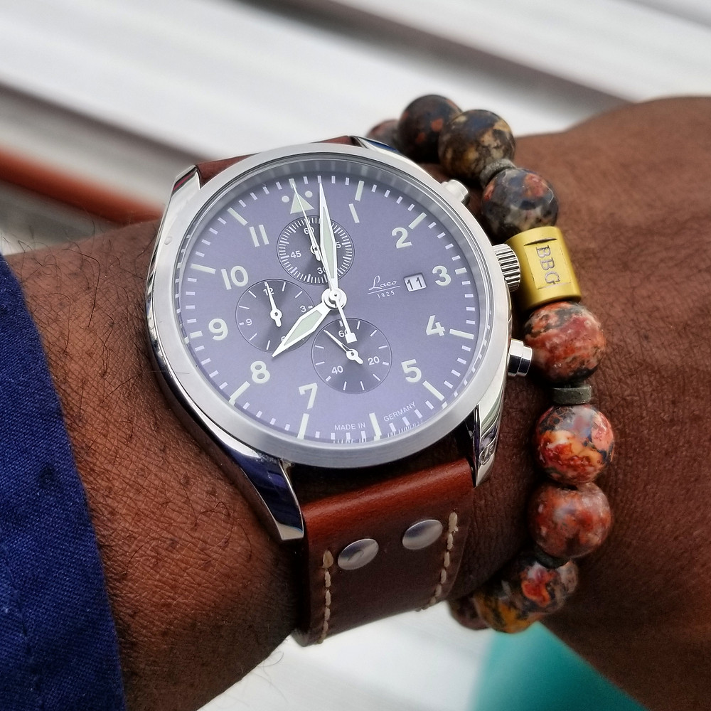 WOTD wrist-shot of the Laco, Atlantic Chronograph .  Paired with custom, beaded bracelet, designed by Beads By Gonzo.