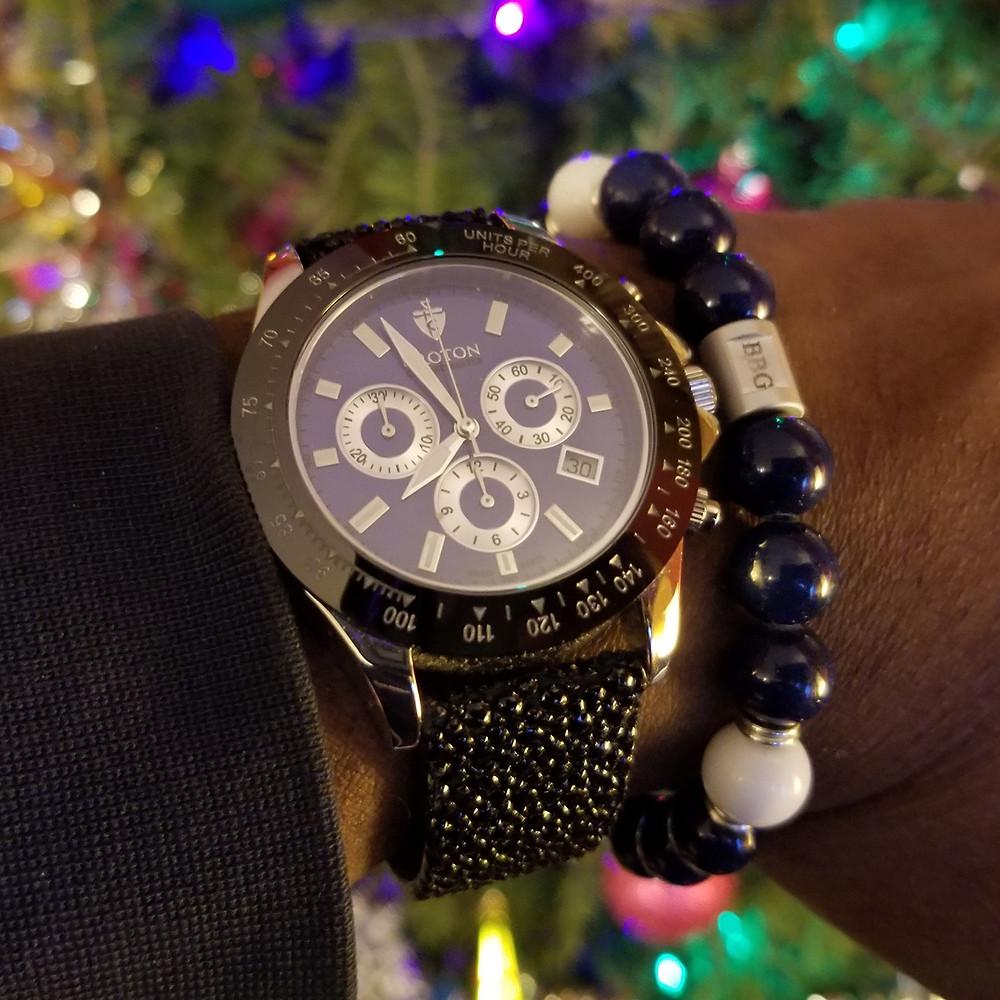 WOTD wrist-shot of the Croton, Chronomaster 925, accompanied by custom, beaded bracelet, designed by Beads By Gonzo.