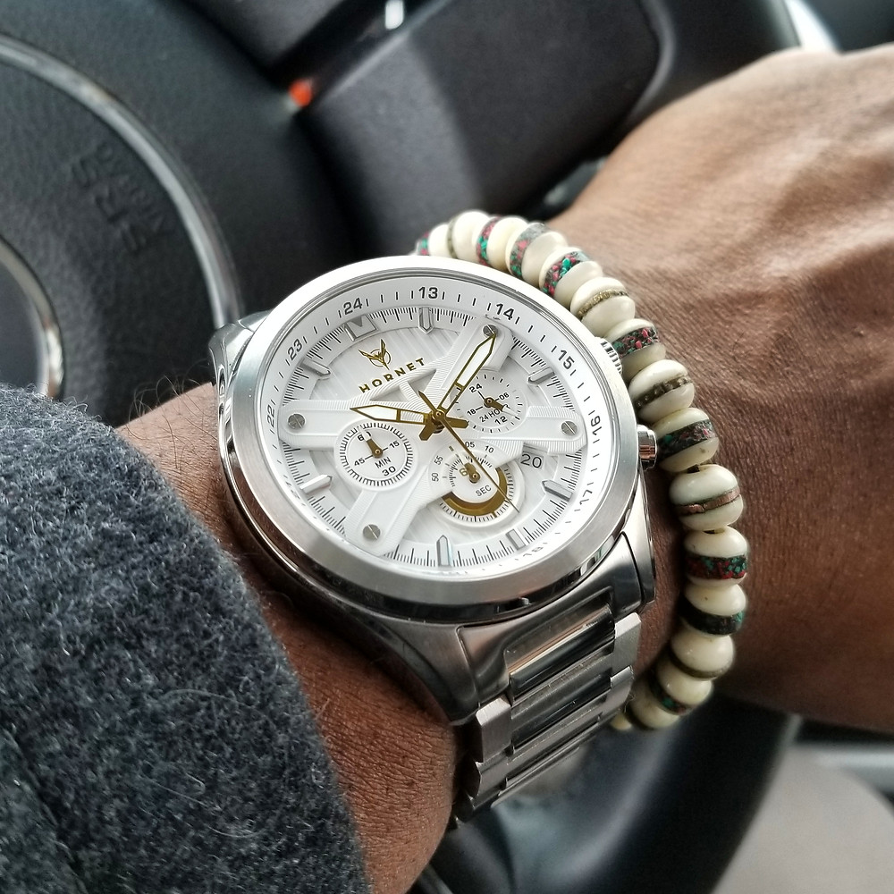 WOTD wrist-shot of the Motor-Time, Hornet Chronograph, paired with a yak bone, copper-infused, beaded bracelet.