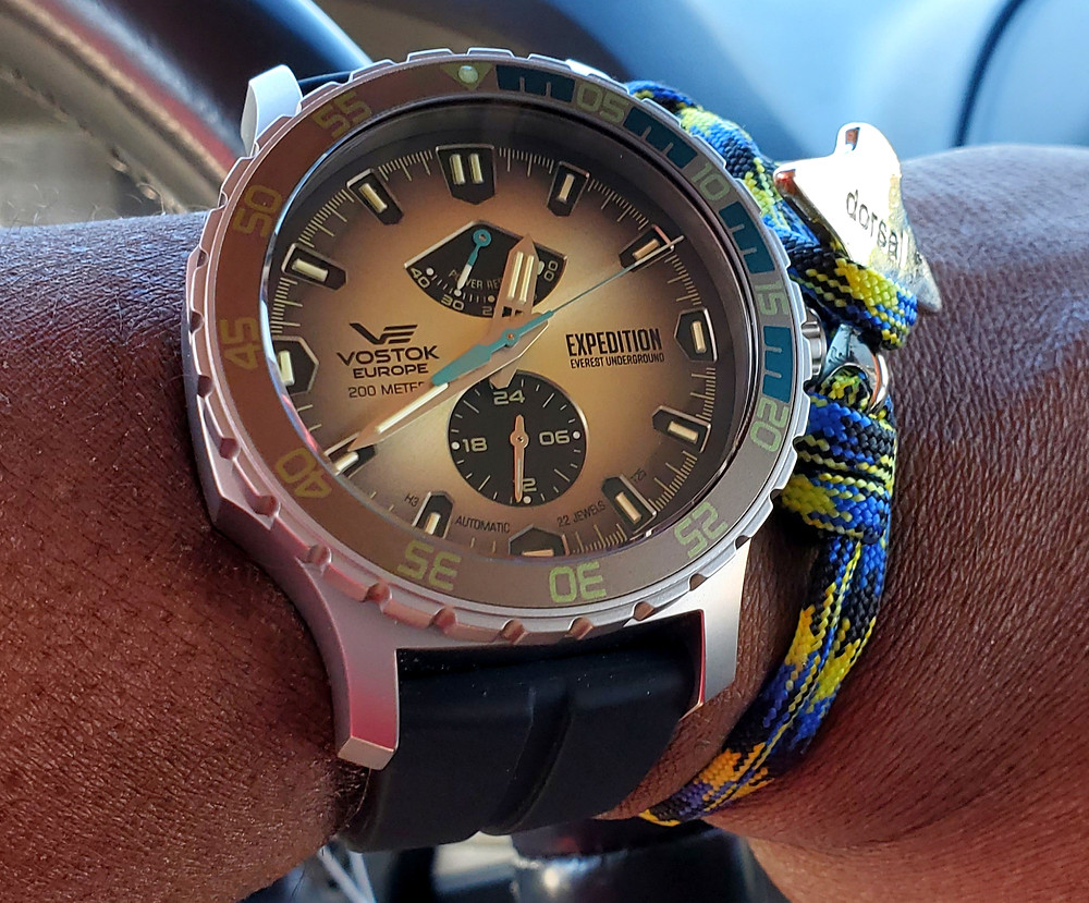 WOTD wrist-shot of the Vostok Europe, Expedition - Everest Underground.  Matched today, with an Eagle Ray, rope bracelet, designed by Dorsal Bracelet Co.
