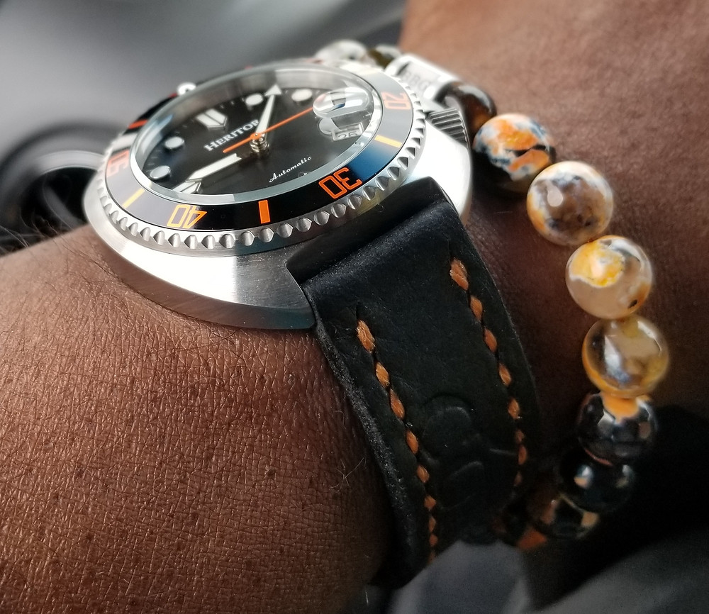 WOTD wrist-shot of the Heritor, Morrison Diver, Automatic.  Paired with a custom, beaded bracelet, designed by Beads By Gonzo.