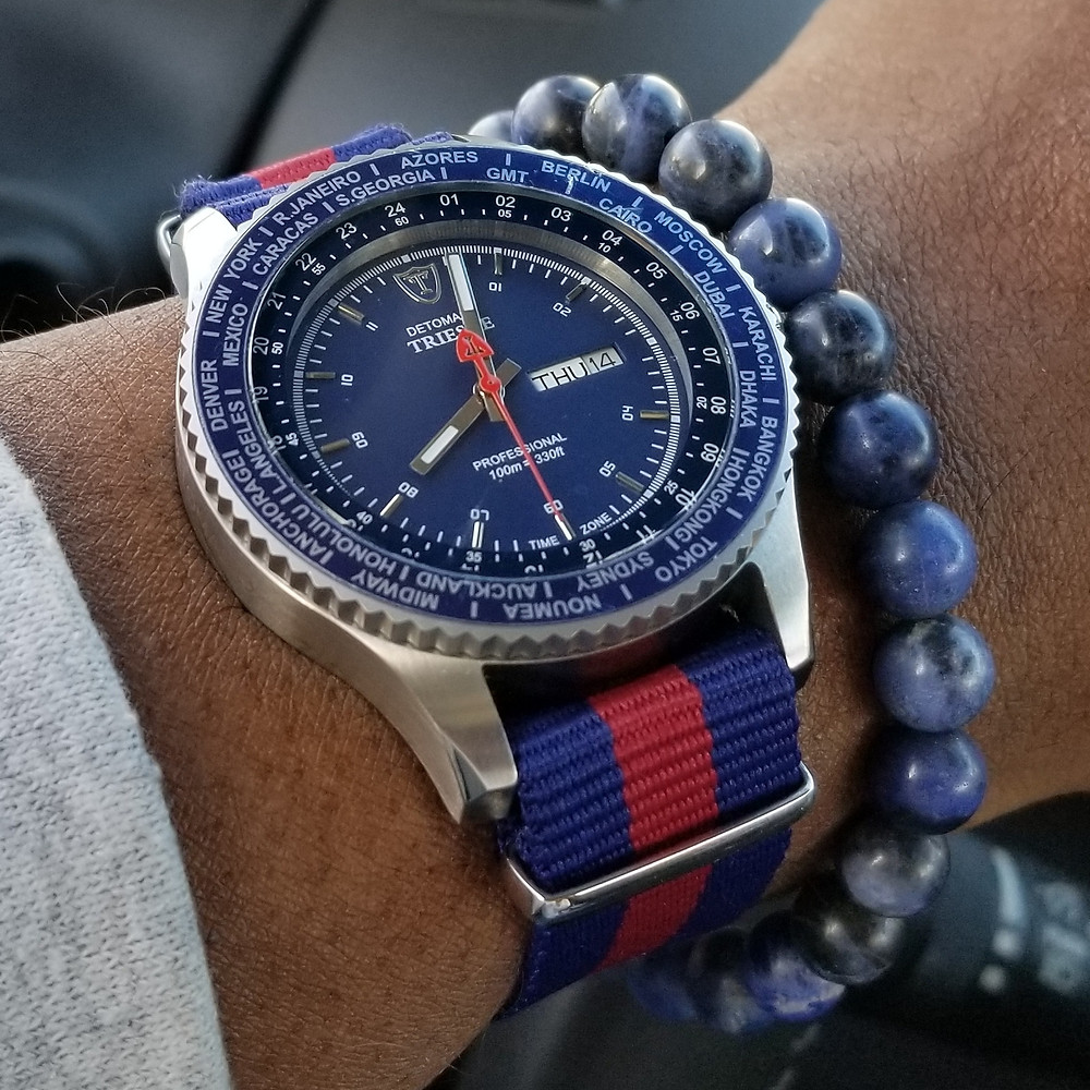 WOTD wrist-shot of the Detomaso, Trieste Globetrotter.  Paired with a minimalist, sodalite stone, beaded bracelet, designed by Aurum Brothers.