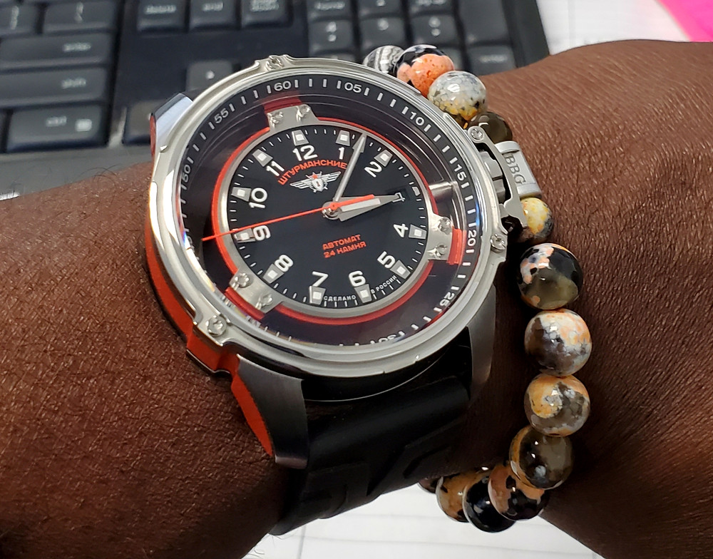 WOTD wrist-shot of the Sturmanski, Mars - Limited Edition.  Paired with a custom-crafted bracelet, designed by Beads By Gonzo.