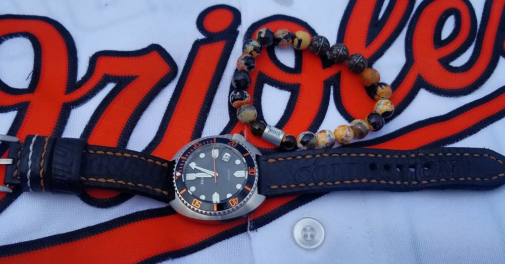 WOTD wrist-shot of the Heritor Morrison Automatic.   Paired with a custom, beaded bracelet, designed by Beads By Gonzo.
