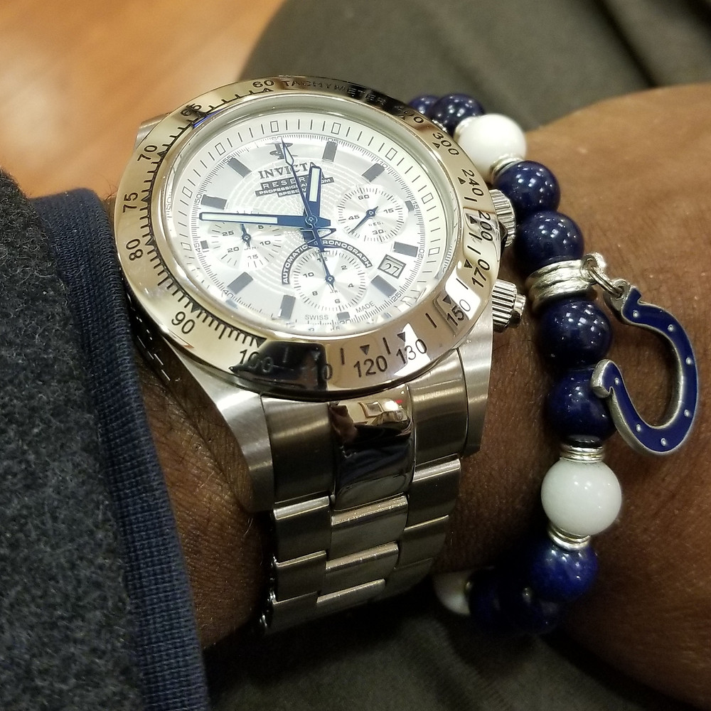 WOTD wrist-shot of the Invicta Reserve, Dubois-Depraz ETA modified, Speedway, Automatic Chronograph, paired with custom, beaded bracelet, designed by Beads By Gonzo.