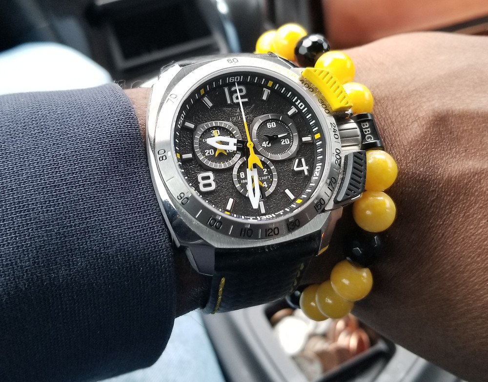 WOTD wrist-shot of the Szanto, Icon Signature Series Chronograph,  paired with an Aurum Brothers, minimalist, Hematite beaded bracelet.