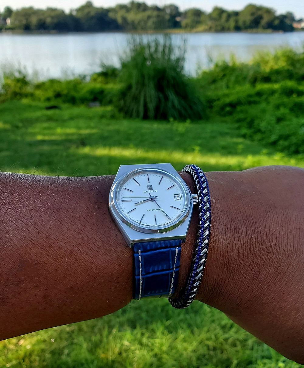 WOTD wrist-shot of the Vintage Zenith Surf.  Paired with a color-matched, bangle-style bracelet, designed by Murtoo Bracelet Co.