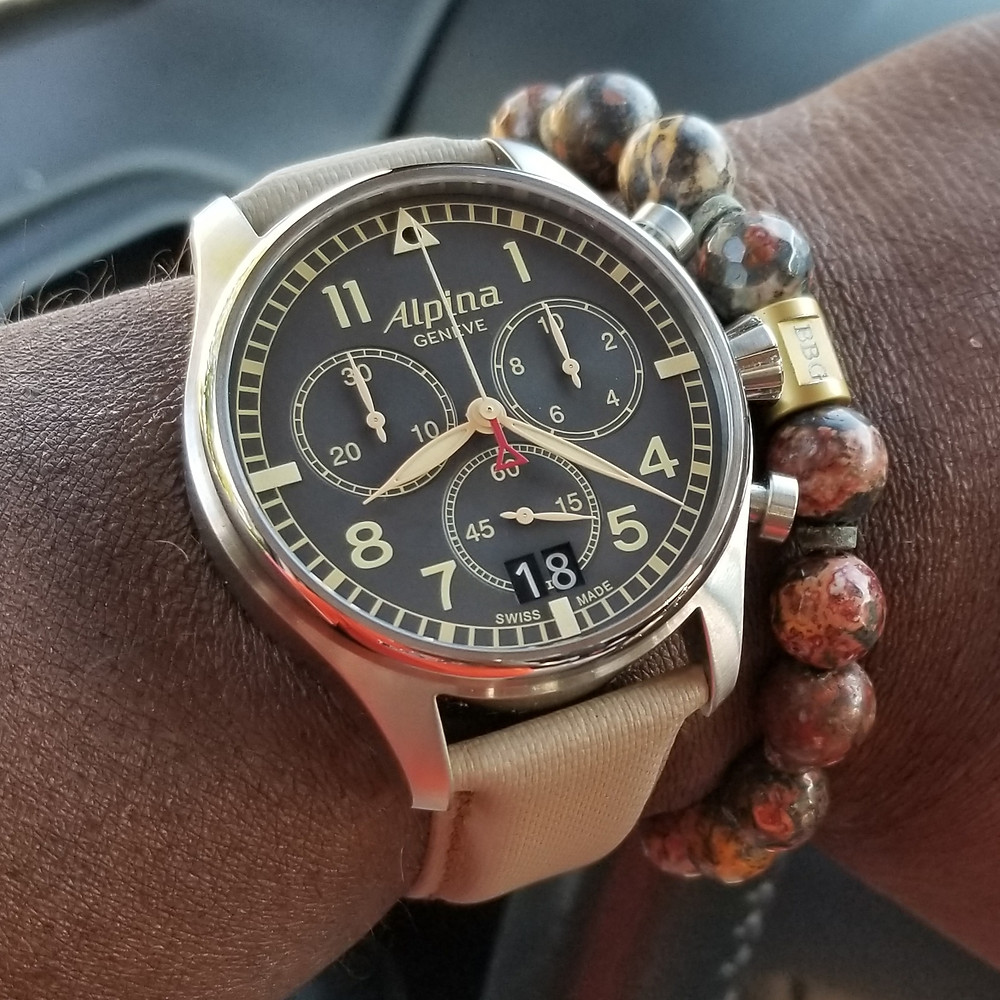 WOTD wrist-shot of the Alpina, Startimer Chronograph.  Paired with custom-made, color-matched bracelet, designed by Beads By Gonzo.