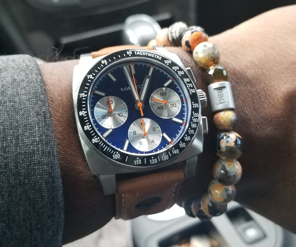 WOTD wrist-shot of the McDowell Time, Maxton Chronograph, paired with a custom beaded bracelet, designed by Beads By Gonzo.