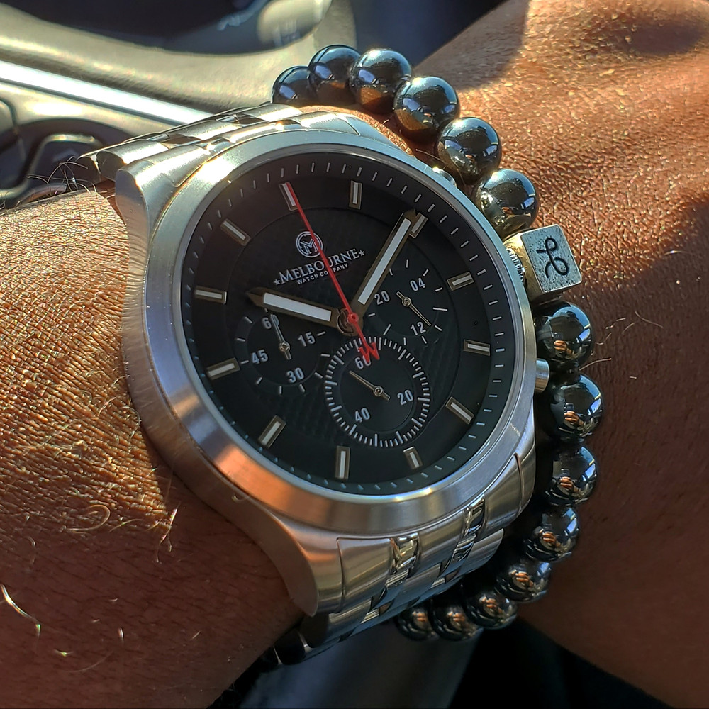 WOTD wrist-shot of the Melbourne, Hawthorne Chronograph.  Paired with a minimalist, Hematite stone bracelet, designed by Aurum Brothers.