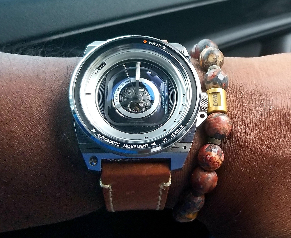 WOTD wrist shot of the T.A.C.S., Automatic Vintage Lens II, paired with custom Beads By Gonzo beaded bracelet.