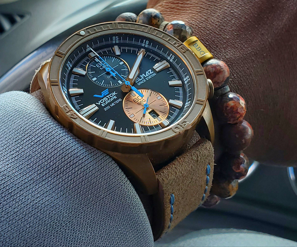 WOTD wrist-shot of the Vostok Europe, Almaz, Space Station - Bronze.  Paired custom-crafted bracelet, designed by Beads By Gonzo.