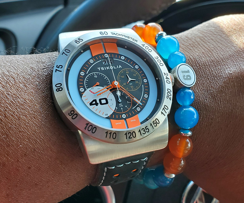 WOTD wrist-shot of the Tsikolia, GT40 Racing Chronograph, Limited Edition.  Paired with a custom-crafted bracelet, designed by Beads By Gonzo.
