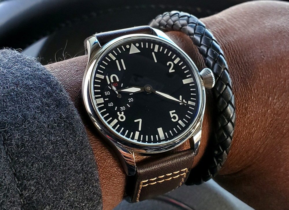 WOTD wrist-shot of the Parnis, Big Pilot - Mechanical, with Sterile Dial.  Paired with a leather, Time Saver bracelet, crafted by Averitas Time.