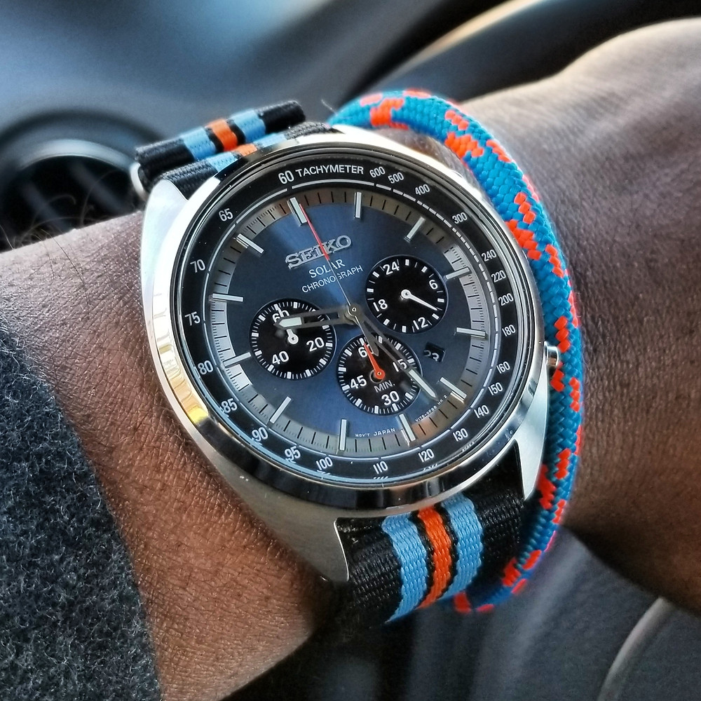 WOTD wrist-shot of the Seiko Recraft, Solar Chronograph.   Paired with a marine-grade, rope bracelet by Ropelet