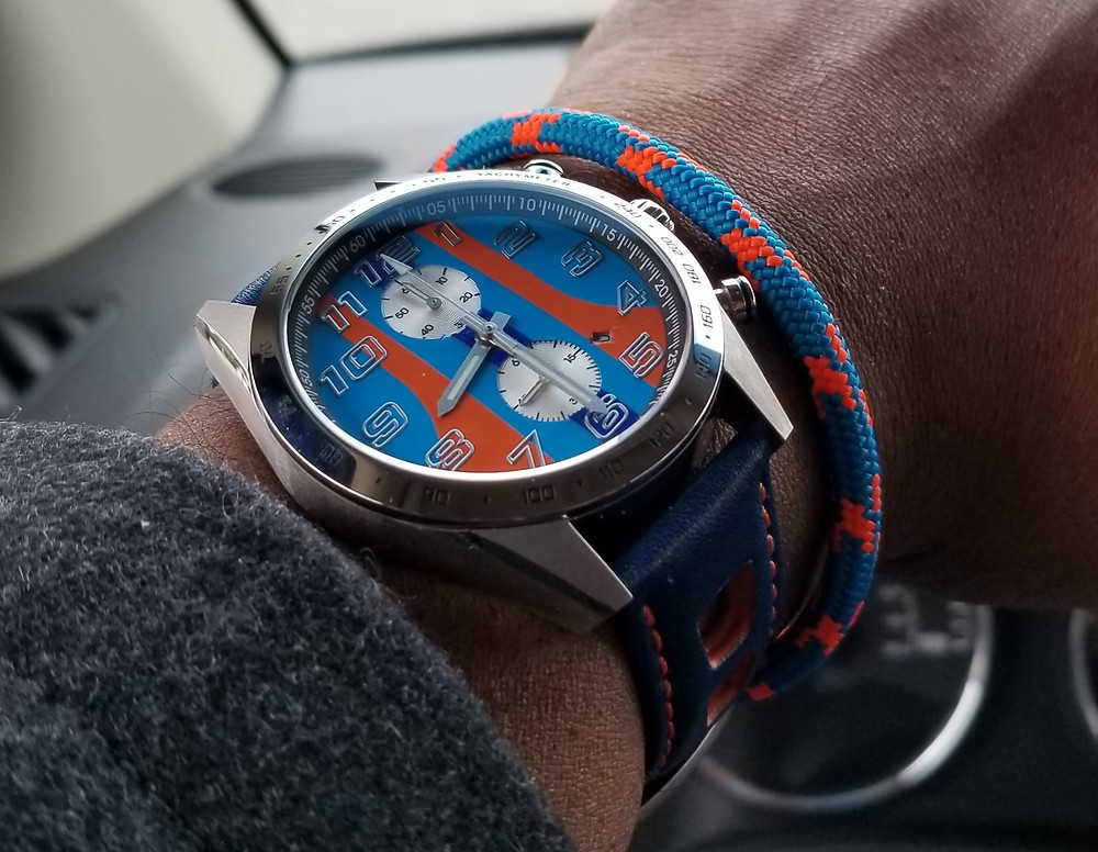 """WOTD wrist-shot of the Szanto, Danny Sullivan """"Icon Series"""" Mod, paired with a marine-grade, rope bracelet, designed by Ropelet."""