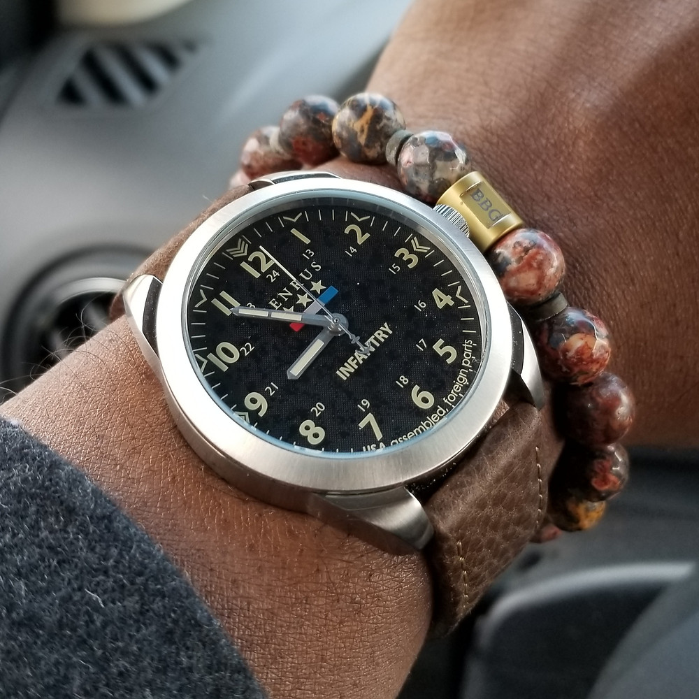 WOTD wrist-shot of the Benrus, Infantry Field Watch, paired with a custom, beaded bracelet., designed by Beads By Gonzo